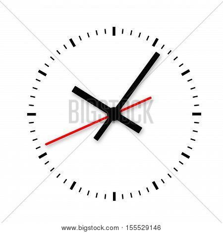 Clock and timestamp without numbers isolated on white background. 3d illustration.