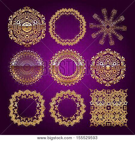 Gold Mandala Set. Purple Version.