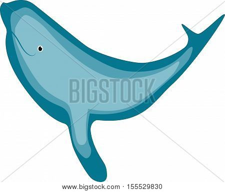 happy huge blue whale in the ocean vector illustration