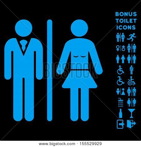 Toilet Persons icon and bonus male and lady lavatory symbols. Vector illustration style is flat iconic symbols, blue color, black background.