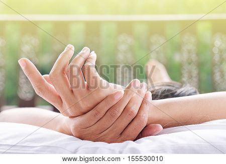 Sofa Woman relaxing enjoying luxury lifestyle outdoor day dreaming and thinking looking happy up smiling cheerful.
