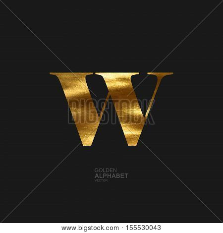 Golden Letter W. Typographic vector element for design. Part of glow golden painted alphabet. Letter W with golden paint texture. Vector illustration