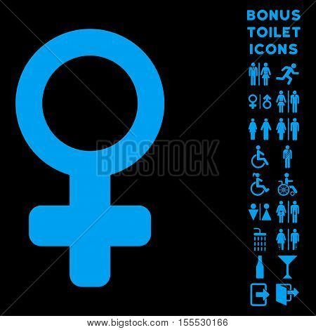 Venus Symbol icon and bonus man and woman restroom symbols. Vector illustration style is flat iconic symbols, blue color, black background.