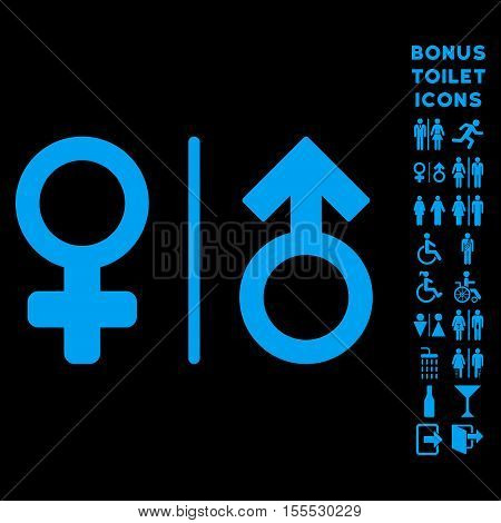 WC Gender Symbols icon and bonus gentleman and lady lavatory symbols. Vector illustration style is flat iconic symbols, blue color, black background.