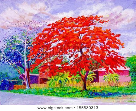 Oil color original landscape painting white color of peacock tree flowers in countryside and cloud background