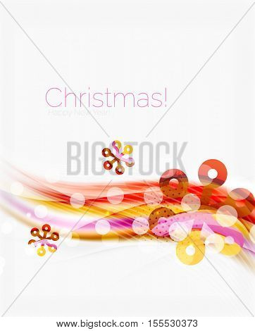 Wave line with snowflakes. Christmas vector abstract background, business holiday presentation template