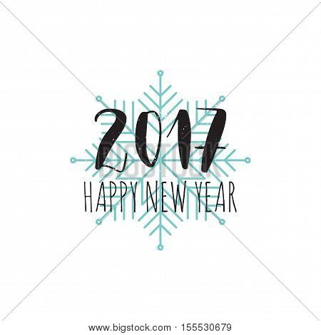 Vector hand written winter phrase - Happy new year 2017. Black calligraphy poster isolated on white background with blue snowflake. Great print for your design