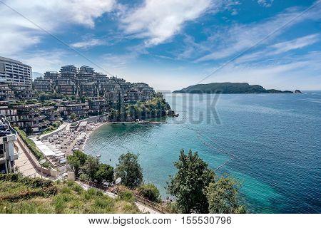 Budva, Montenegro- September 13, 2016: Luxury complex of hotels in Budva town Montenegro