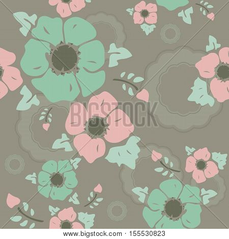 Seamless wall-paper nostalgic flowers marsh background. Gentle flowers anemones in a retro style. Vector EPS10. A print for fabric packing paper wall-paper cards etc.