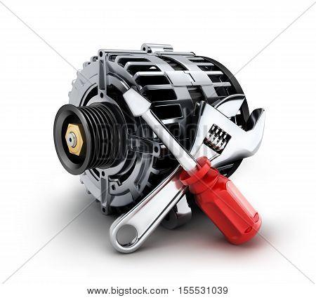 Car generator repair on white background. 3d illustration