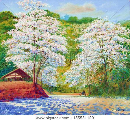 Oil color original landscape painting white color of crescent flower white in countryside and cloud on mountain background