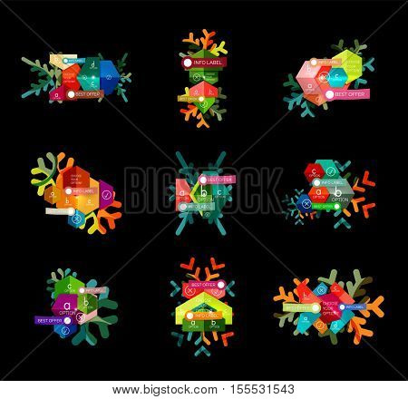Christmas infographic business templates - geometric paper shapes with text and options on snowflake