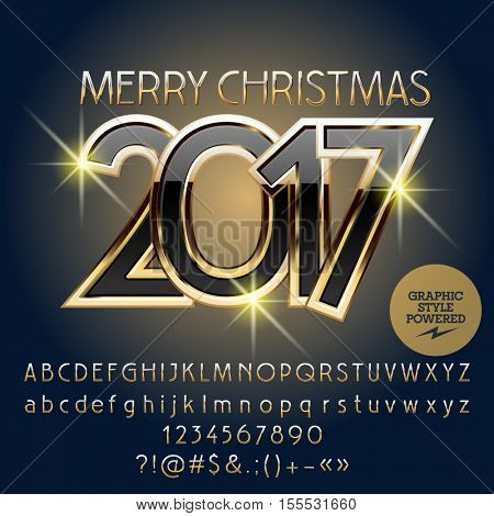 Vector black and gold Merry Christmas 2017 greeting card with set of letters, symbols and numbers. File contains graphic styles
