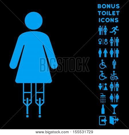 Woman Crutches icon and bonus male and female toilet symbols. Vector illustration style is flat iconic symbols, blue color, black background.