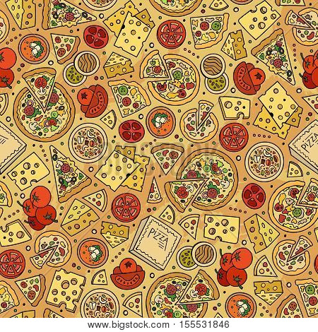 Cartoon cute hand drawn Pizza seamless pattern. Colorful with lots of objects background. Endless funny vector illustration. Bright colors backdrop with fastfood symbols and items