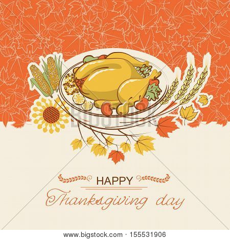 Thanksgiving Day Card With Roasted Turkey Dish