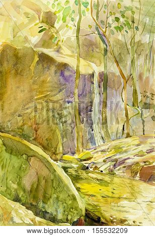 Abstract watercolor original painting landscape of waterfall and stone green leaves background.