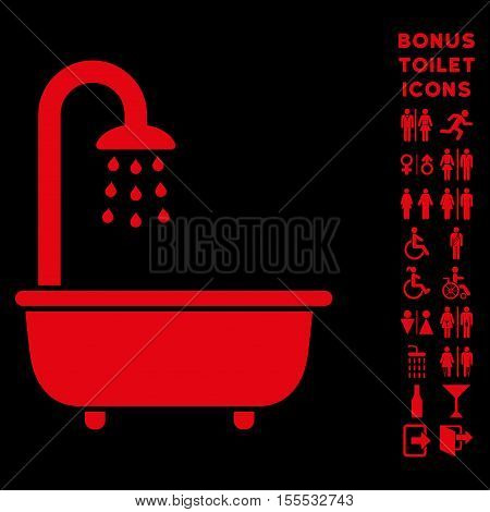 Bath Shower icon and bonus gentleman and lady lavatory symbols. Vector illustration style is flat iconic symbols, red color, black background.