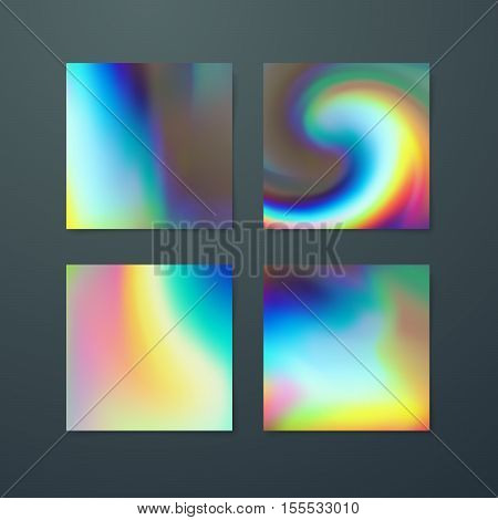 Fluid iridescent multicolored backgrounds. Vector illustration of iridescent fluids. Poster set with holographic neon effect. Applicable for flyer, banner, poster, brochure, cover. Spectrum colors