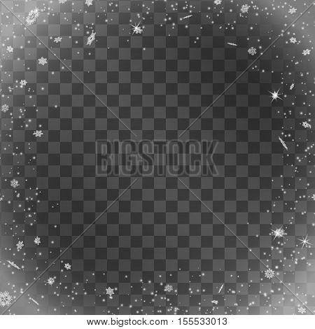 Snow on transparent background. Winter snowfall. Vector illustration
