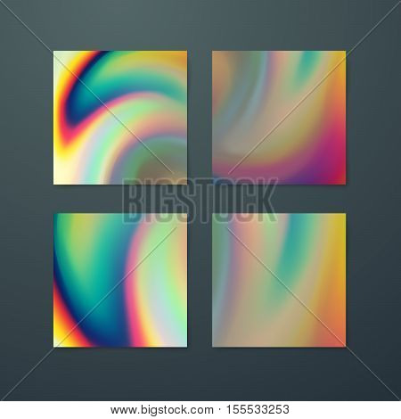 Fluid iridescent multicolored backgrounds. Vector illustration of smudged iridescent fluids. Holographic neon poster set. Applicable for flyer, banner, poster, brochure, cover. Spectrum colors