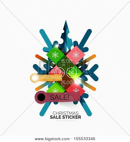 Vector Christmas sale stickers and labels