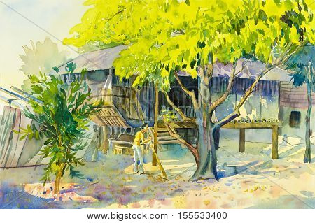Watercolor landscape original painting colorful of man under yellow tree in countryside and old house background