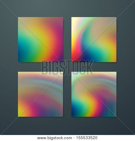Fluid iridescent multicolored backgrounds. Vector illustration of iridescent fluids. Poster set with holographic neon effect. Applicable for flyer, banner, poster, brochure, card. Spectrum colors