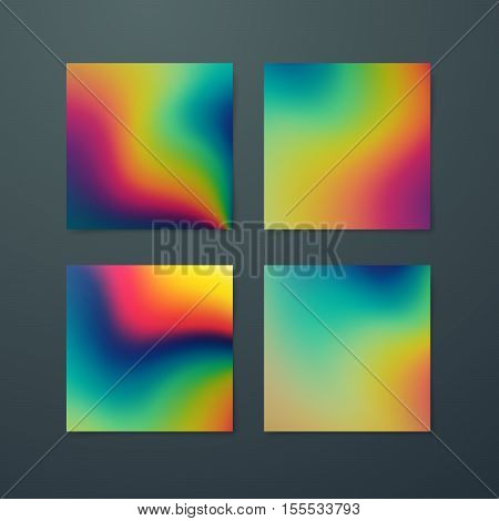 Fluid iridescent multicolored backgrounds. Vector illustration of melted iridescent fluids. Poster set with spectrum neon effect. Applicable for flyer, banner, poster, brochure, card.