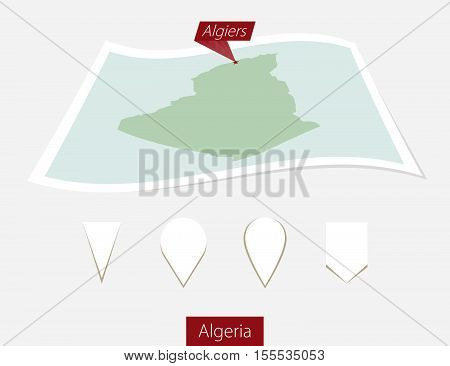 Curved Paper Map Of Algeria With Capital Algiers On Gray Background. Four Different Map Pin Set.