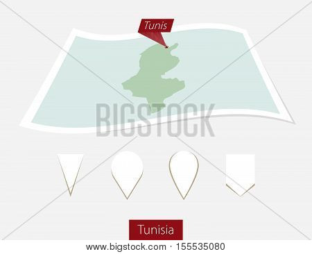 Curved Paper Map Of Tunisia With Capital Tunis On Gray Background. Four Different Map Pin Set.