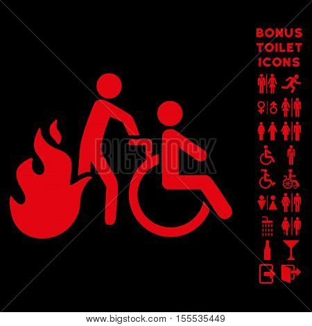 Fire Patient Evacuation icon and bonus male and lady lavatory symbols. Vector illustration style is flat iconic symbols, red color, black background.
