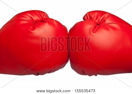 Close up of two red boxing gloves bumping isolated on white background