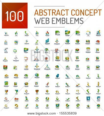 Set of 100 web internet concepts logo icons, business corporate emblems