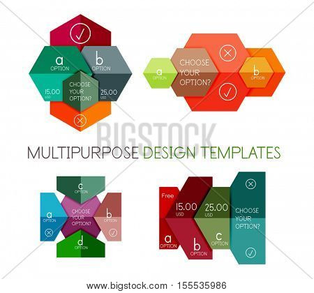 Paper infographic banners and stickers. For banners, business backgrounds, presentations