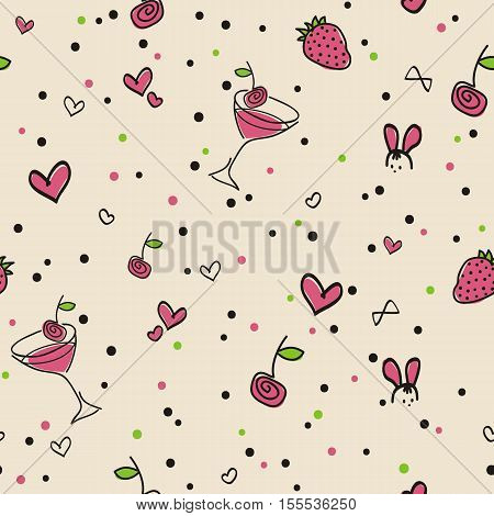 Seamless pattern Strawberry cocktail beige background. A cheerful summer pattern with cocktail berries of strawberry and cherry hearts and confetti. Vector EPS 10. For fabric packing paper invitation on a party a celebration etc.