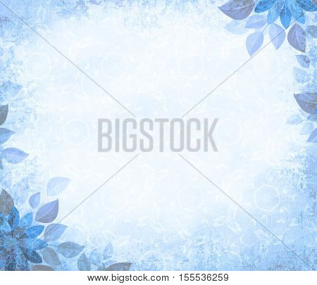 Background grunge with flower corners blue. The basis for design or the text on a rough cloth in ancient style.