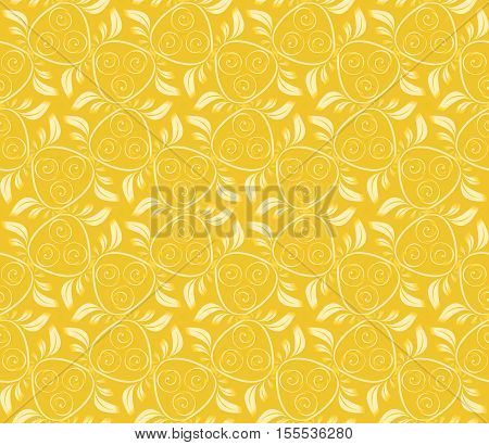 Seamless abstract vegetable pattern yellow. A one-color background with a light ornament. Basis for design for fabric packing paper web etc.