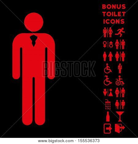 Gentleman icon and bonus gentleman and female lavatory symbols. Vector illustration style is flat iconic symbols, red color, black background.