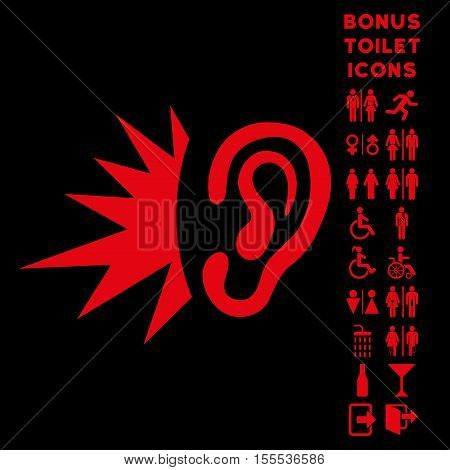 Listen Loud Sound icon and bonus gentleman and woman WC symbols. Vector illustration style is flat iconic symbols, red color, black background.