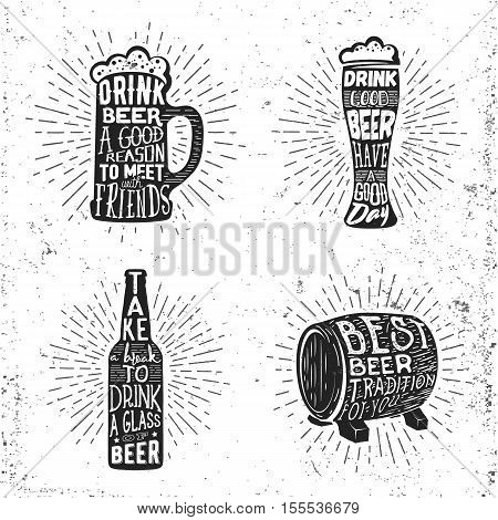 Creative beer set with glass, mug, bottle and barrel silhouette. Vector illustration with sunburst and lettering. Graphic beer objects used for advertising beer festival, beverage, brewery, or bar, pub or restaurant menu.