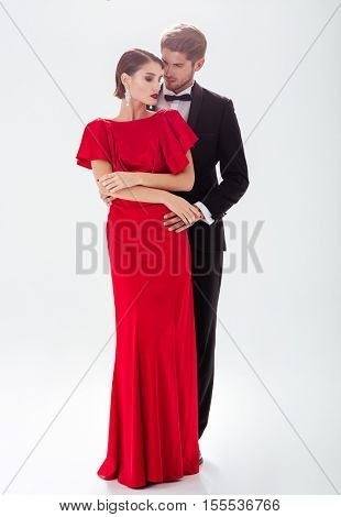 Full length couple in love. isolated white background