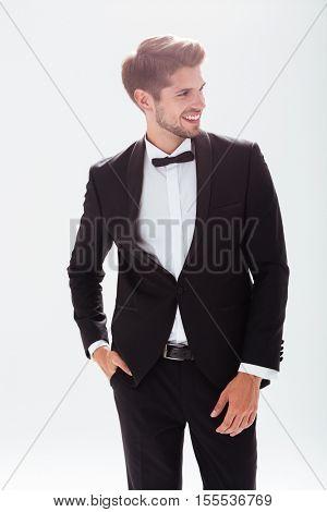 Smiling model in suit