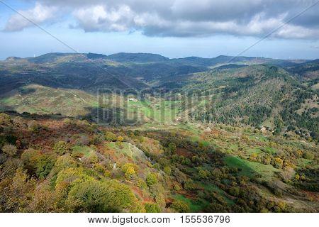 autumnal landscape on valley of Nebrodi Park, Sicily