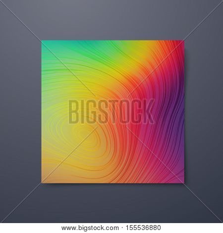 Poster design template with swirled iridescent lines. Vector illustration of spectrum colors. Marble texture imitation. Branding stationery design. Applicable for flyer, banner, poster, brochure