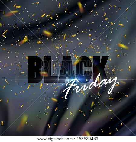 Black Friday sale banner design template. Vector illustration of Black Friday sign on iridescent black silk fabric with golden confetti and light rays