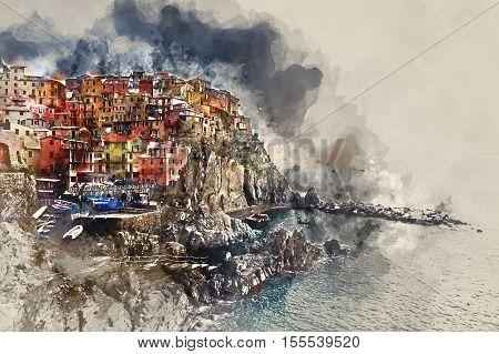 Digital watercolor painting of Manarola. Manarola is a small coastal village in the Italian region of Liguria Cinque Terre. Province of La Spezia. Italy