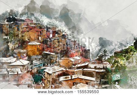 Digital watercolor painting of Manarola. Manarola is a small coastal village in the Italian region of Liguria Cinque Terre. Province of La Spezia. Italy.