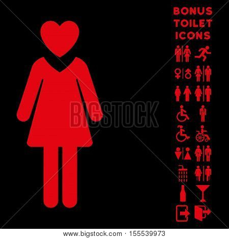 Mistress icon and bonus man and woman lavatory symbols. Vector illustration style is flat iconic symbols, red color, black background.
