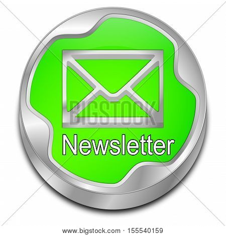 decorative green Newsletter Button - 3D illustration